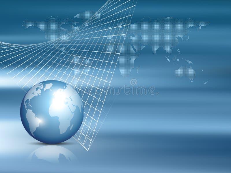Mapa global con el globo del mundo - plantilla de las finanzas y de la inversión - azul del fondo del negocio libre illustration