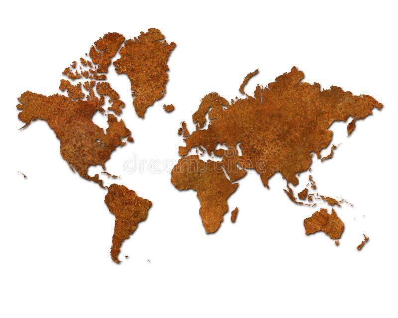 Mapa global con los continentes oxidados del metal en blanco stock de ilustración