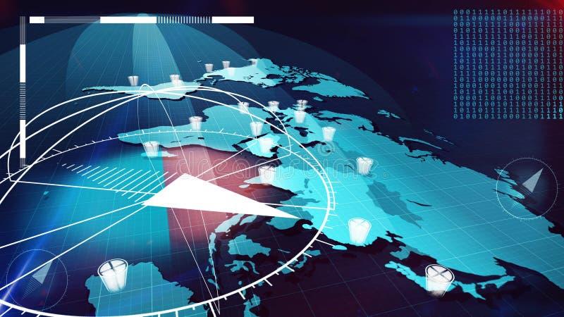 Mapa global de Internet con los compases, relojes, pedazos stock de ilustración