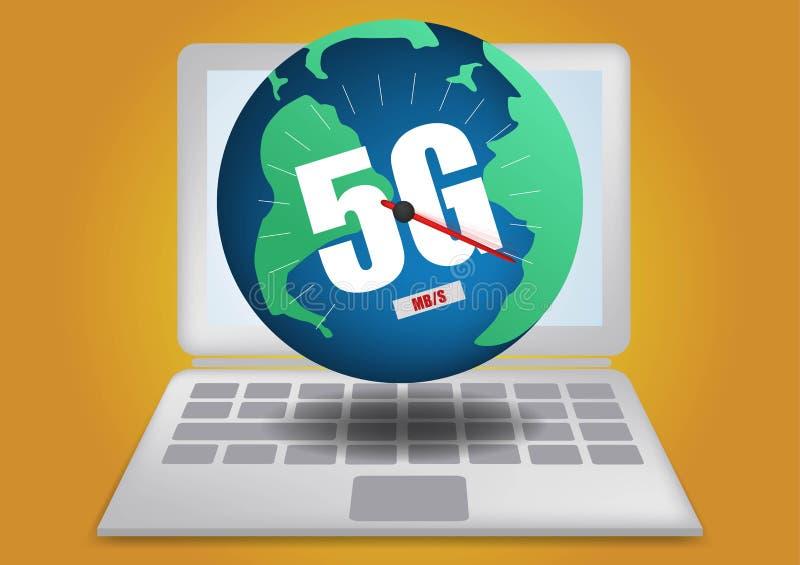 mapa global de las redes de comunicaciones de la tierra de la red de 4g 5g de las conexiones globales de la log?stica del mapa az stock de ilustración
