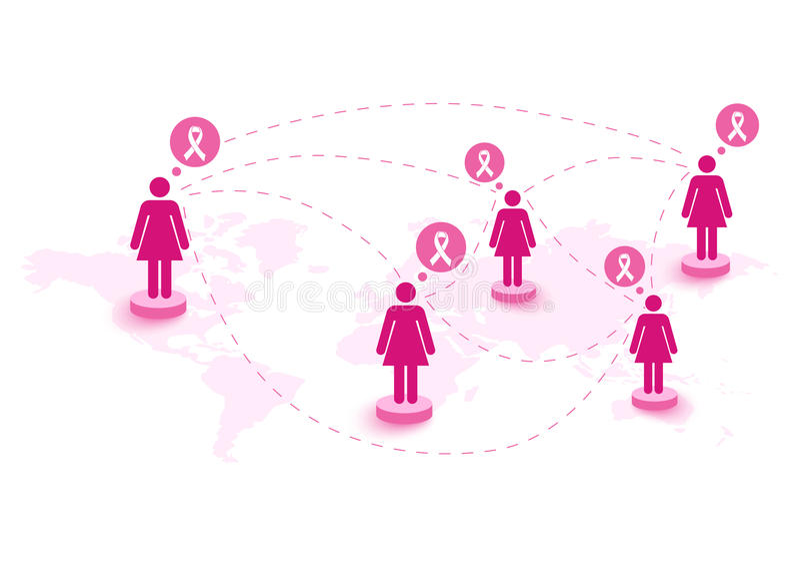 Mapa global del discurso de las mujeres de la cinta de la conciencia del cáncer de pecho. EPS10 fi ilustración del vector