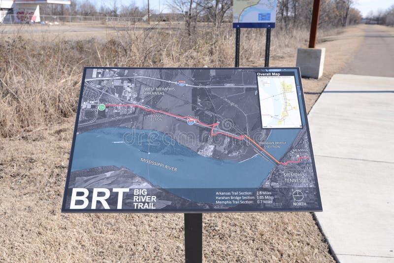 Mapa grande del rastro del río, Memphis del oeste, Arkansas imágenes de archivo libres de regalías