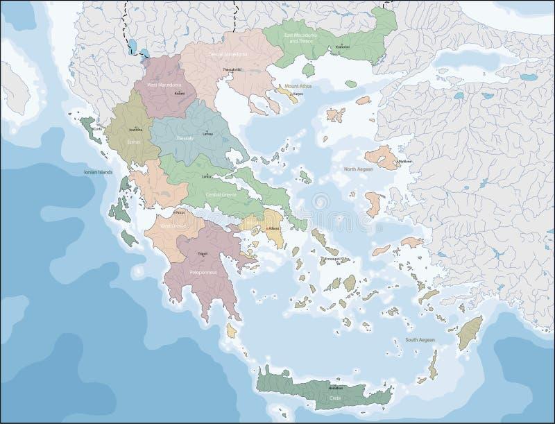 mapa greece royalty ilustracja