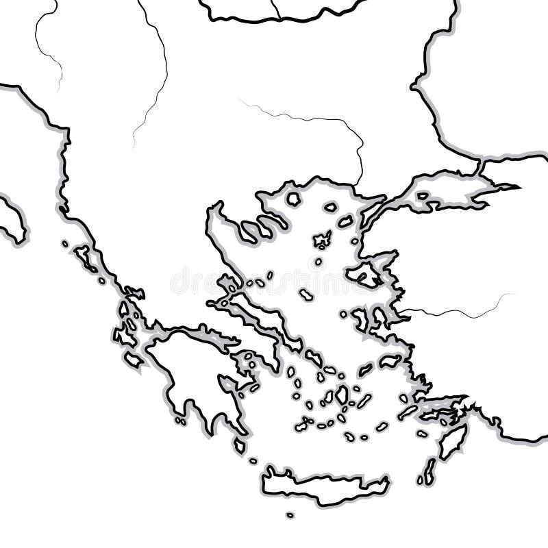 Mapa grek ziemie: Grecja, Peloponnese, Thrace, Macedonia, Bałkany, morze egejskie Geograficzna mapa royalty ilustracja