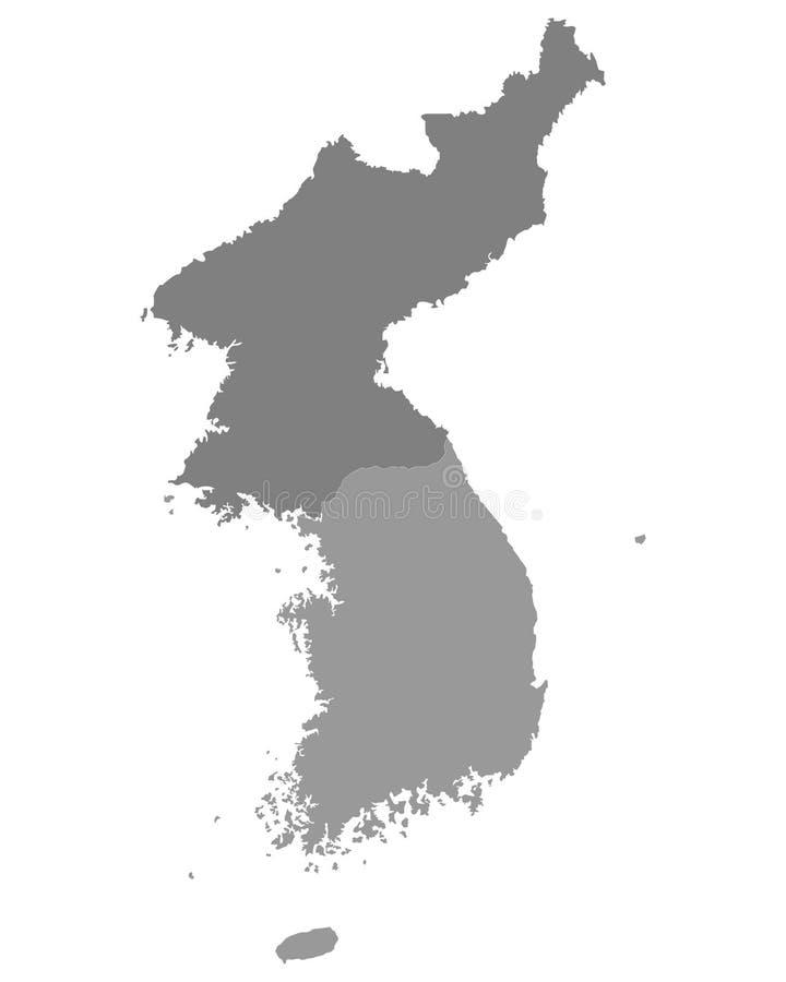 Mapa gris de Corea del Norte y de la Corea del Sur ilustración del vector