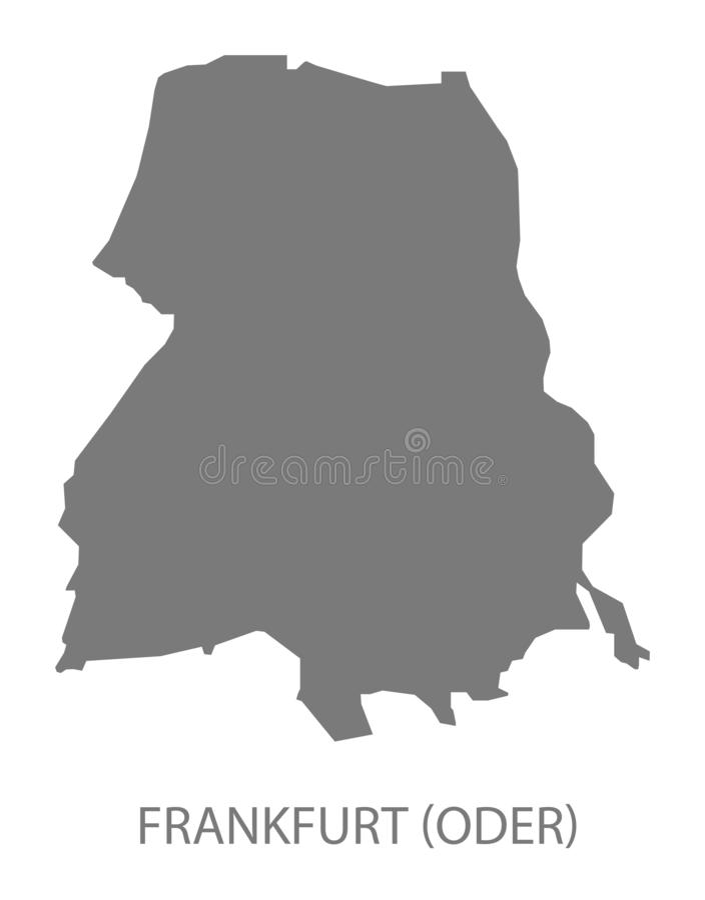 Mapa gris del condado de Francfort Oder de Brandeburgo Alemania stock de ilustración