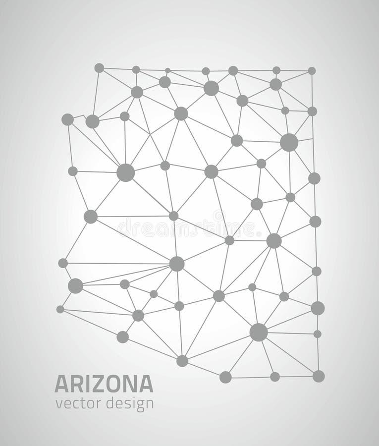 Mapa gris del triángulo del esquema del punto del vector de Arizona ilustración del vector