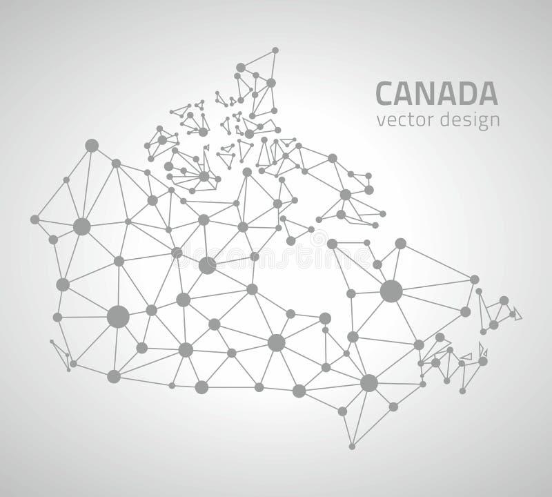 Mapa gris del triángulo del esquema del punto del vector de Canadá stock de ilustración