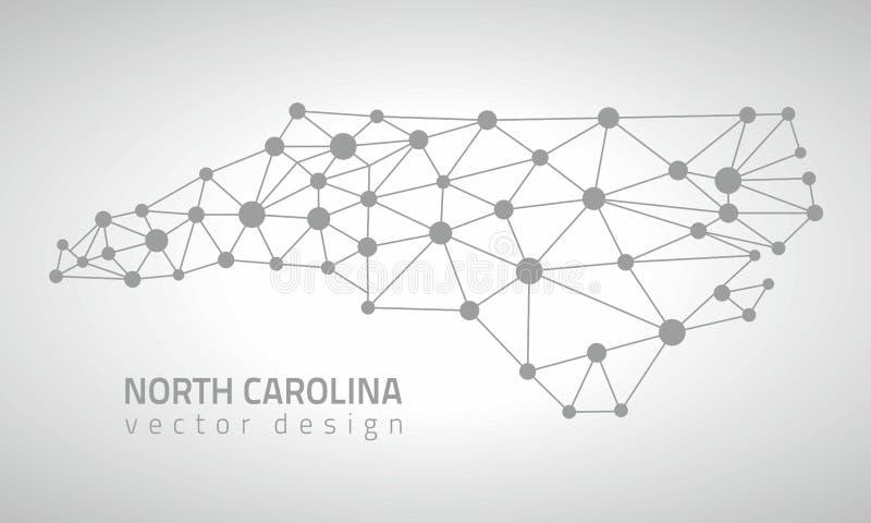 Mapa gris del triángulo del esquema del punto del vector de Carolina del Norte ilustración del vector