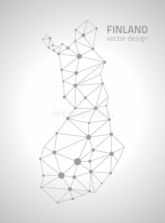 Mapa gris del triángulo del esquema del punto del vector de Finlandia ilustración del vector