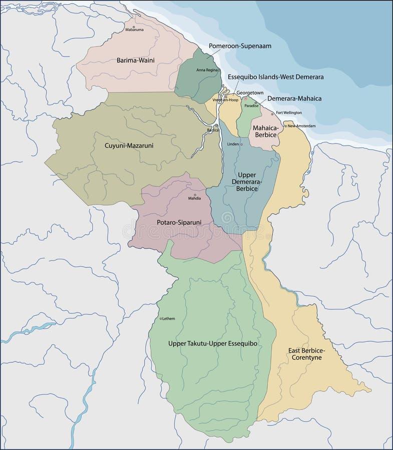 Mapa Guyana royalty ilustracja