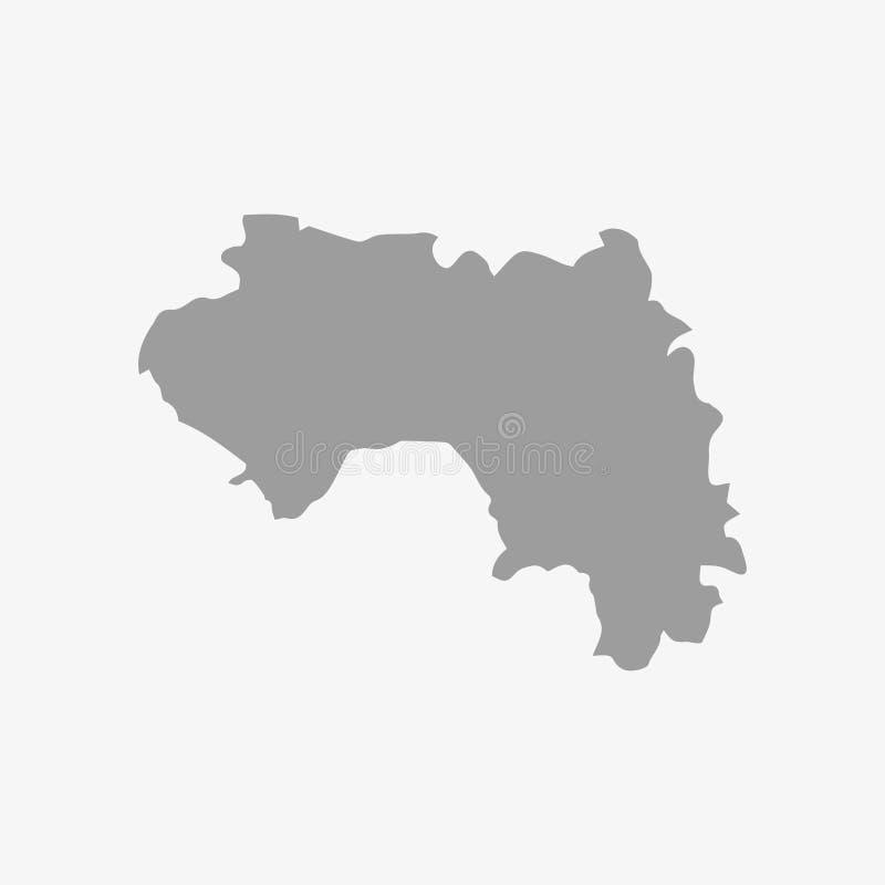 Mapa gwinea w szarość na białym tle ilustracja wektor