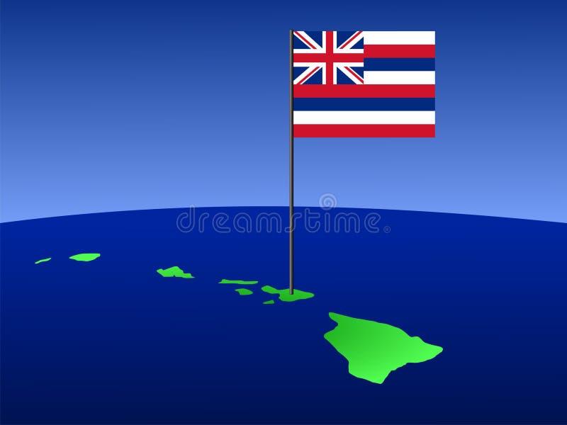 mapa Hawaii bandery royalty ilustracja