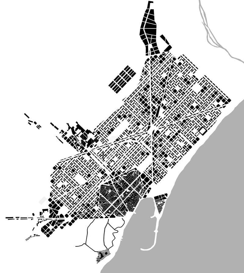 Mapa histórico do centro da cidade de Barcelona, Espanha ilustração do vetor