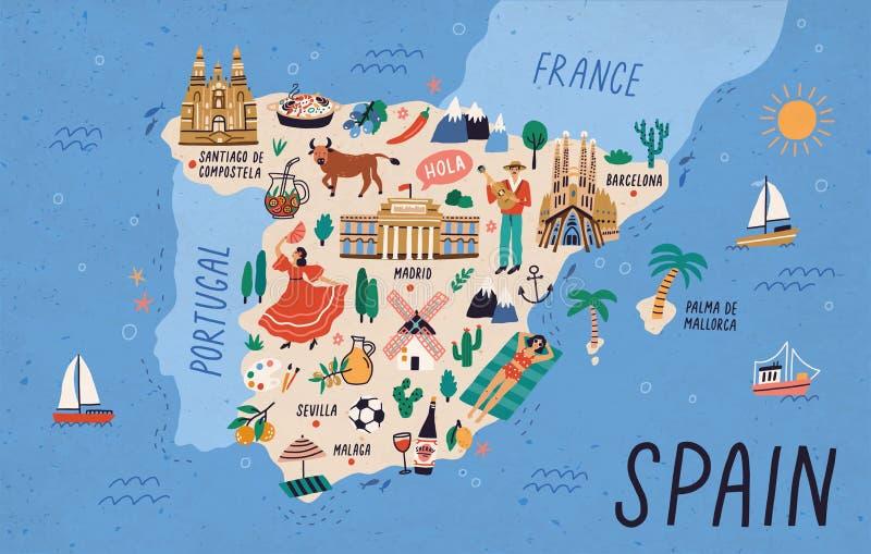 Mapa Hiszpanii z charakterystycznymi punktami lub widokami turystycznymi i symbolami narodowymi - katedry, tancerz flamenco, byk,  ilustracji