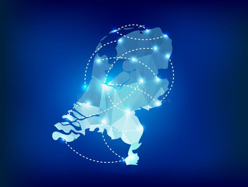 Mapa holandês do país poligonal com luzes do ponto ilustração stock