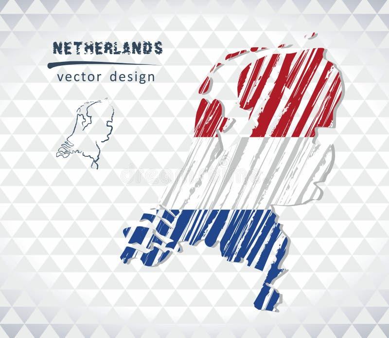 Mapa holandie z ręka rysującą nakreślenie mapą inside również zwrócić corel ilustracji wektora royalty ilustracja