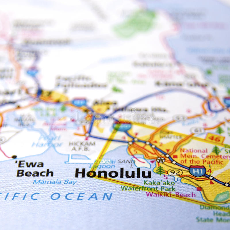 Mapa Honolulu obrazy stock