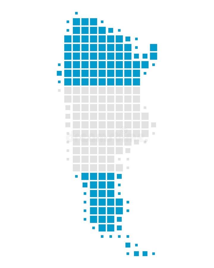 Mapa i flaga Argentyna ilustracji