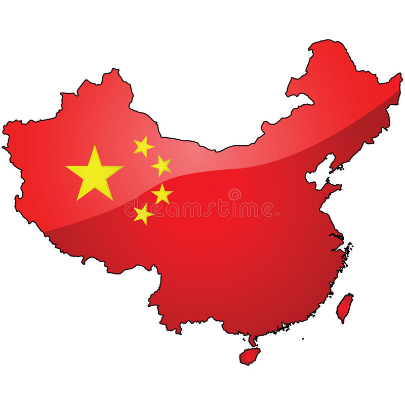 Mapa i flaga Chiny ilustracji