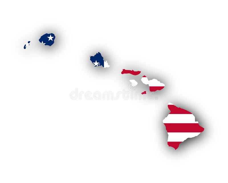 Mapa i flaga Hawaje royalty ilustracja