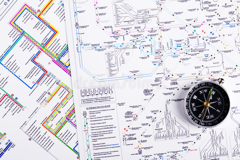 Mapa i kompas obraz royalty free