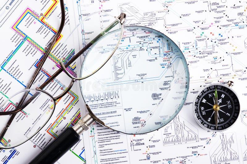 Mapa i kompas zdjęcia royalty free