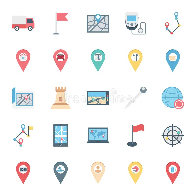 Mapa i szpilki Odizolowywać Wektorowe ikony ustawiający składać się z z drogą, mieścimy, jedziemy, samolotu i paliwa stacja, ilustracji