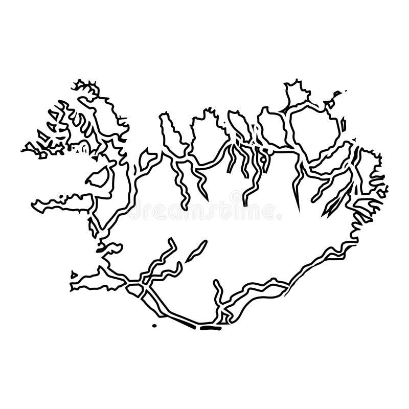 Mapa Iceland ikony czerni koloru mieszkania stylu wektorowy ilustracyjny wizerunek ilustracja wektor