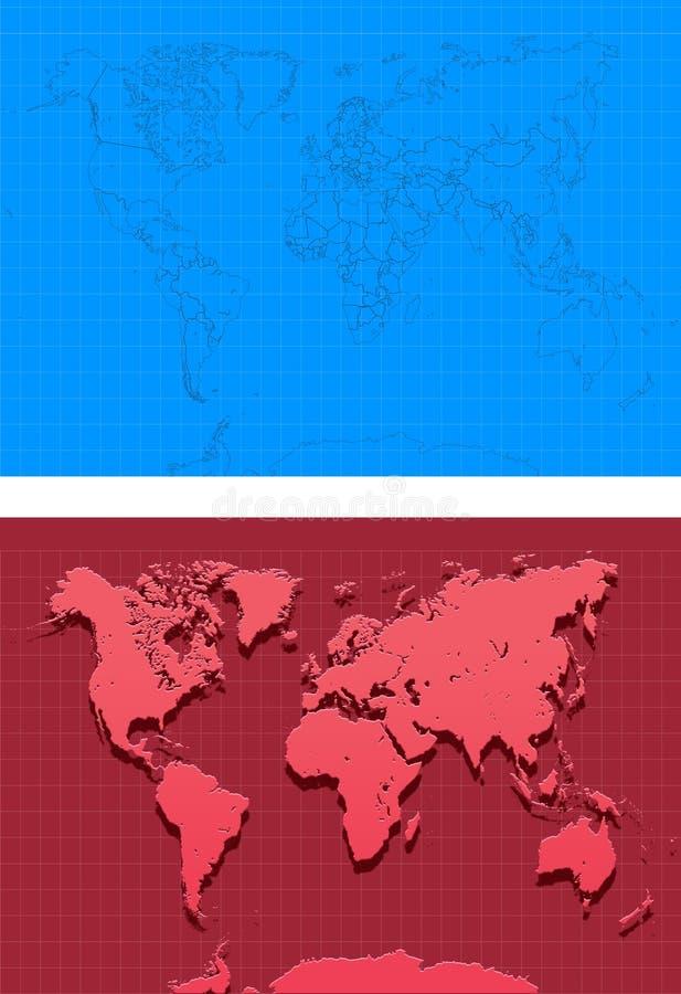 Mapa-Ilustração-mapas mundiais ilustração do vetor