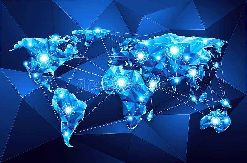 mapa ilustracyjny stary świat globalna sieć ilustracja wektor