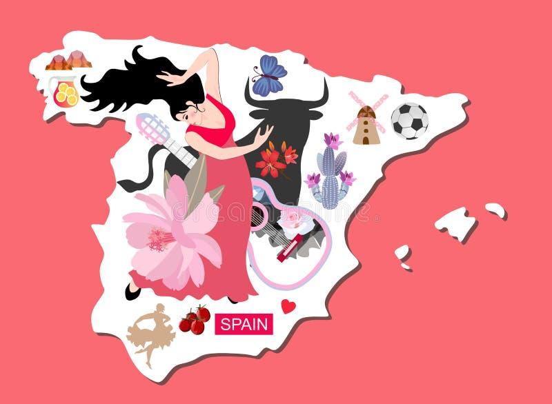 Mapa ilustrado da Espanha com a mulher do dançarino do flamenco, o touro preto, o moinho, a guitarra, a sangria e uns outros símb ilustração royalty free