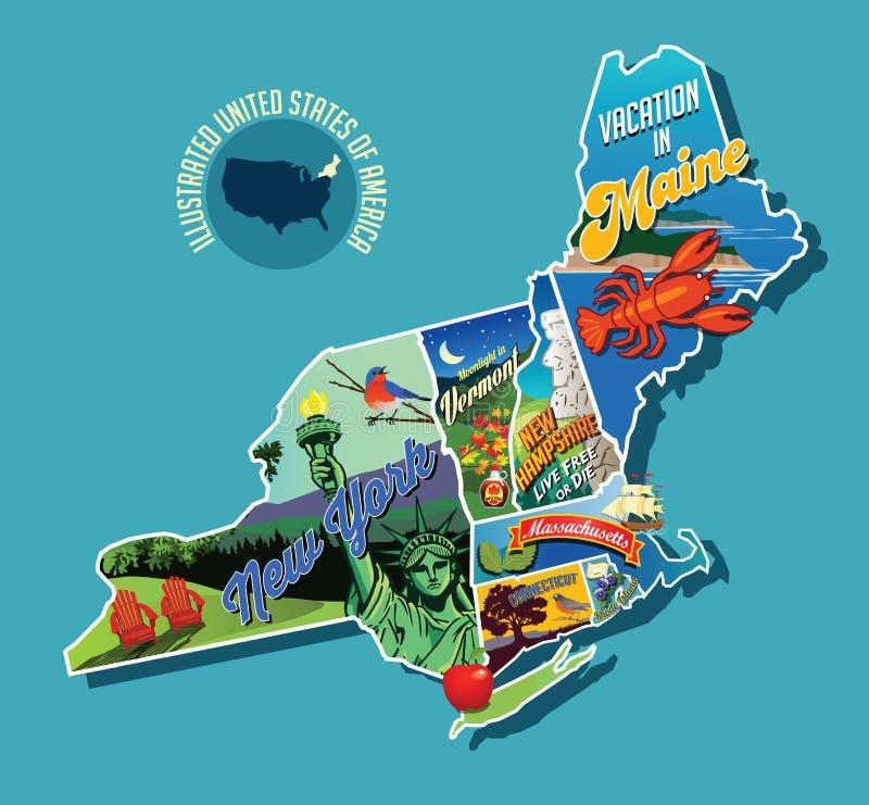 Mapa ilustrado ilustrado de Estados Unidos de nordeste ilustración del vector