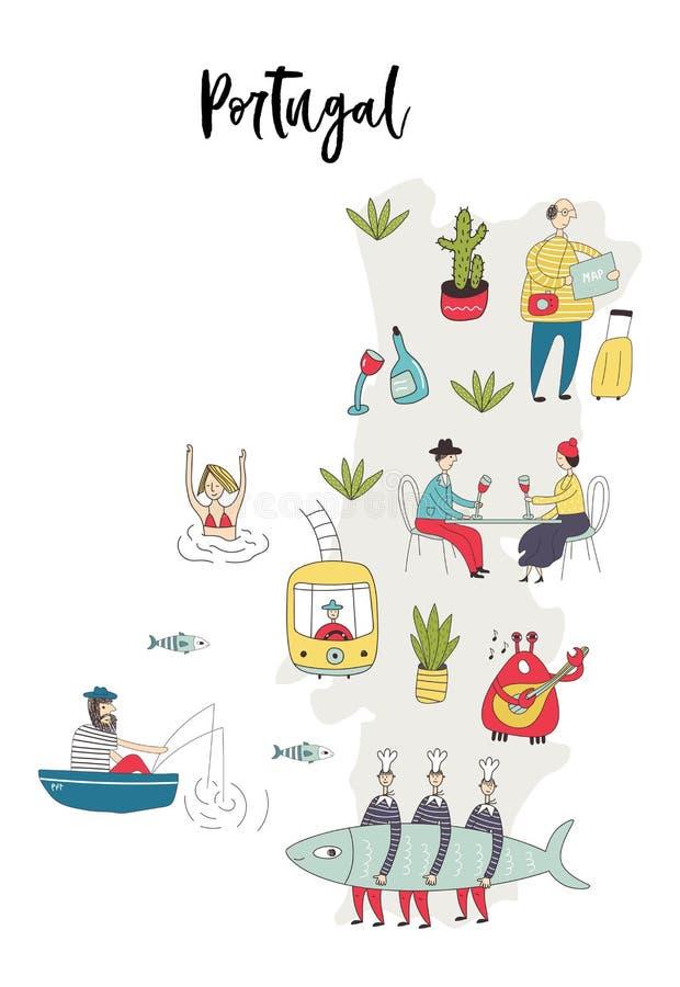 Mapa ilustrado de Portugal com caráteres bonitos e do divertimento, as plantas e elementos tirados mão Ilustração do vetor da cor ilustração royalty free