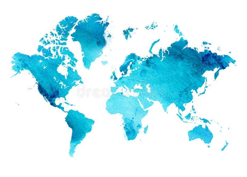 Mapa ilustrado del mundo con un fondo aislado acuarela azul del cielo ilustración del vector