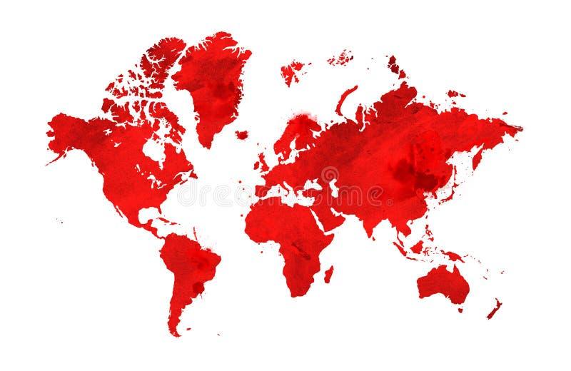 Mapa ilustrado del mundo con un fondo aislado Acuarela roja stock de ilustración