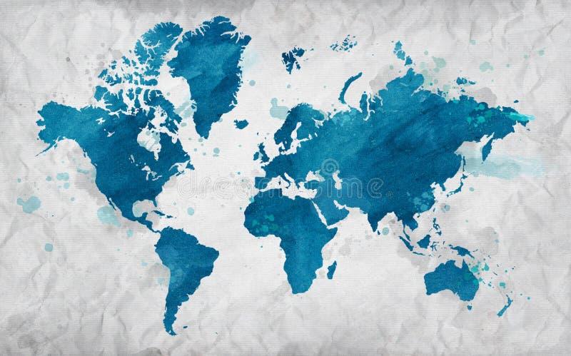 Mapa ilustrado del mundo en el papel arrugado Fondo horizontal blanco stock de ilustración