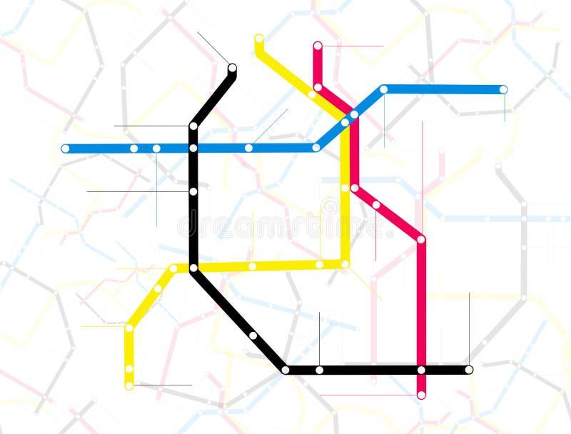 Mapa ilustrado do metro ilustração do vetor