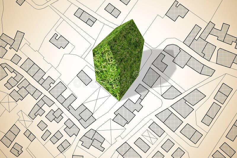 Mapa imaginario de la ciudad con un edificio verde - la arquitectura del futuro - imagen del concepto fotos de archivo libres de regalías