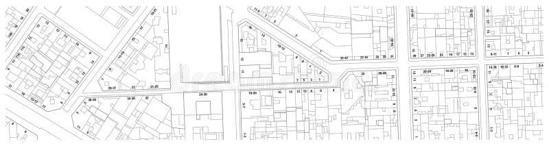 Mapa imaginario del catastro del territorio con números de las calles y de casa de los edificios ilustración del vector