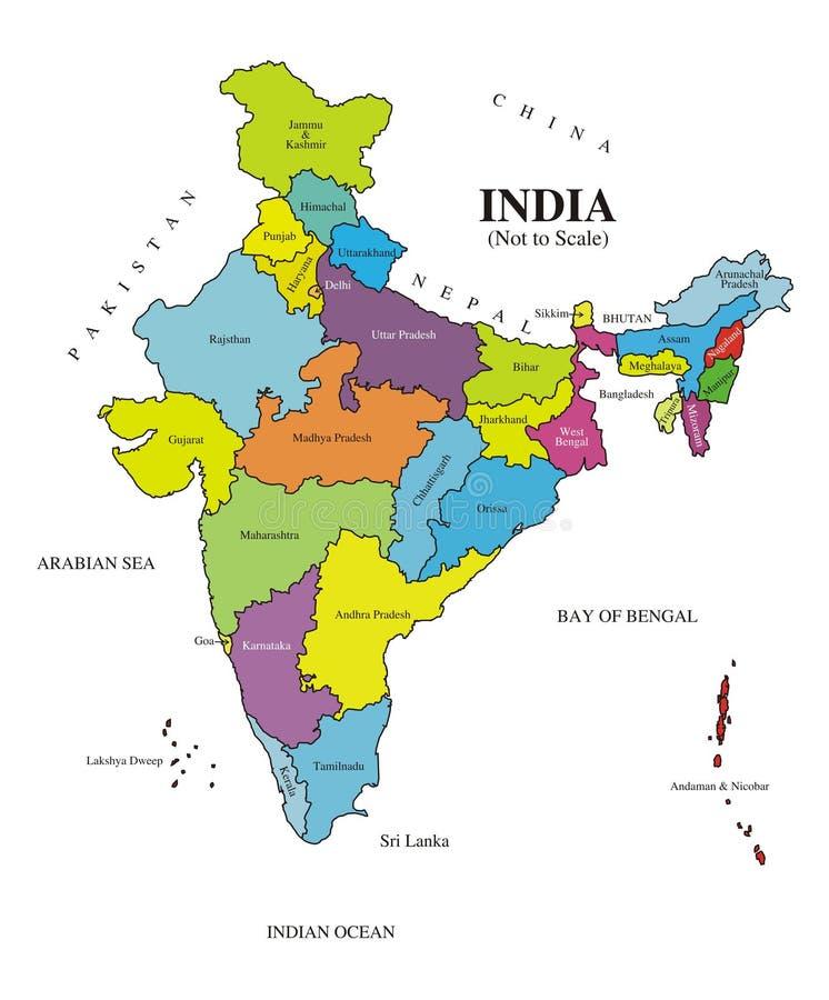 Mapa India [etiquetado] autêntico ilustração do vetor