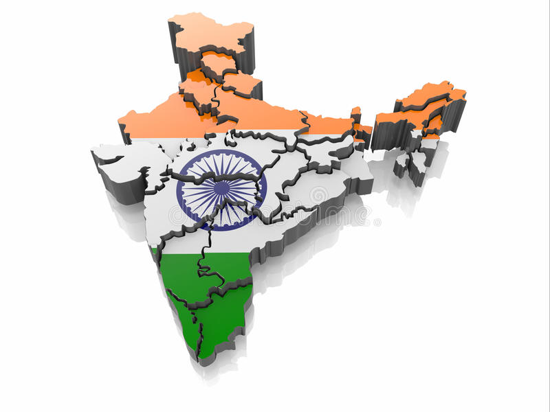 Mapa India w Indianina flaga kolorach royalty ilustracja