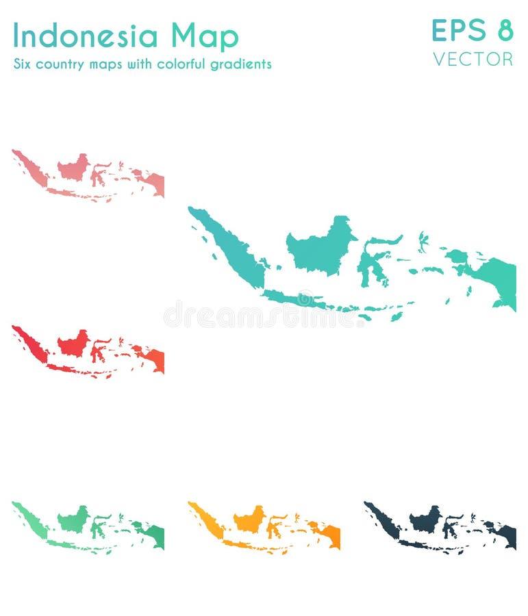 Mapa Indonezja z pi?knymi gradientami ilustracji
