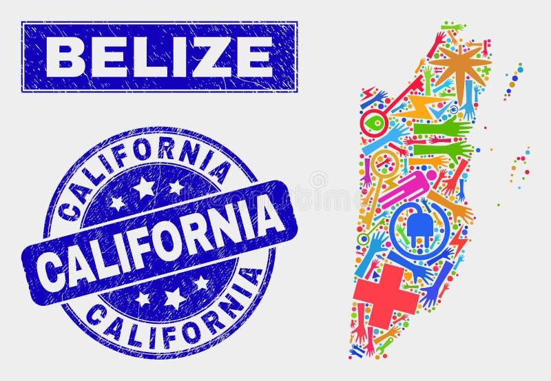 Mapa industrial de Belize da colagem e para afligir a filigrana de Califórnia ilustração royalty free