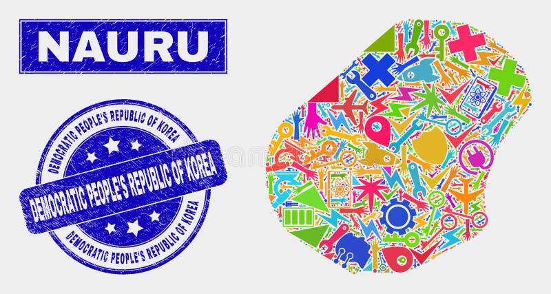Mapa industrial de Nauru do mosaico e para afligir o selo de Democratic Peoples Republic of Korea ilustração royalty free