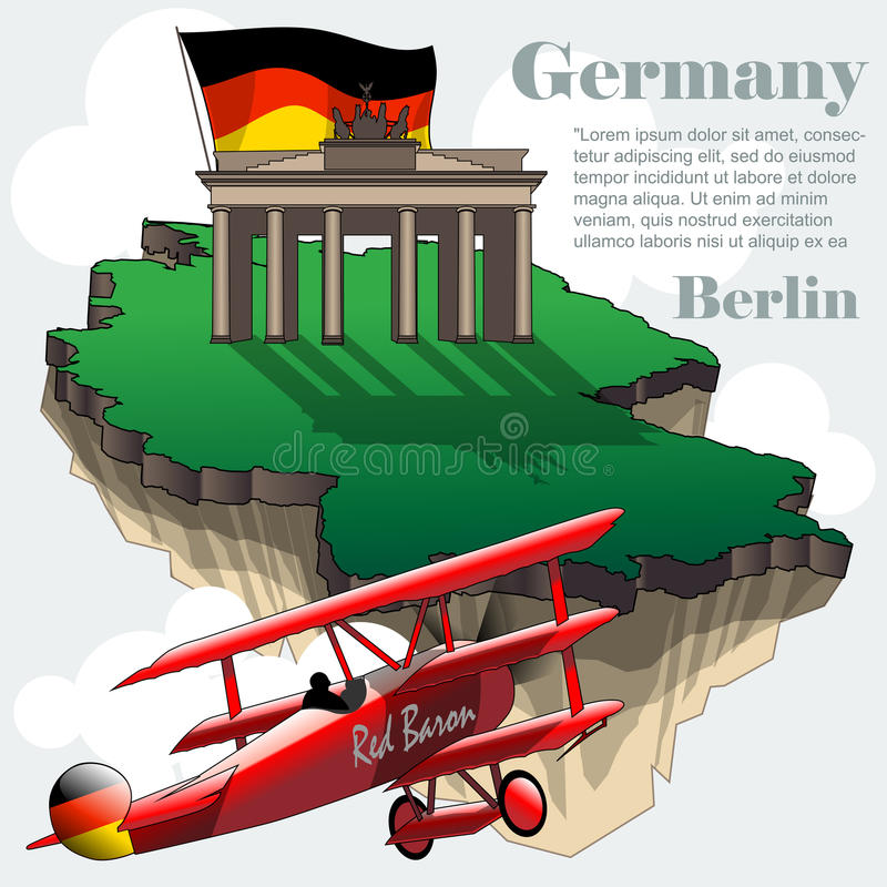 Mapa infographic del país de Alemania en 3d libre illustration