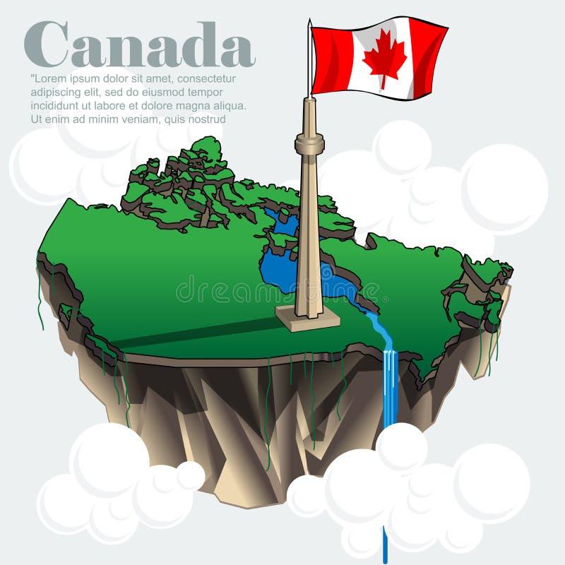 Mapa infographic do país de Canadá em 3d ilustração royalty free