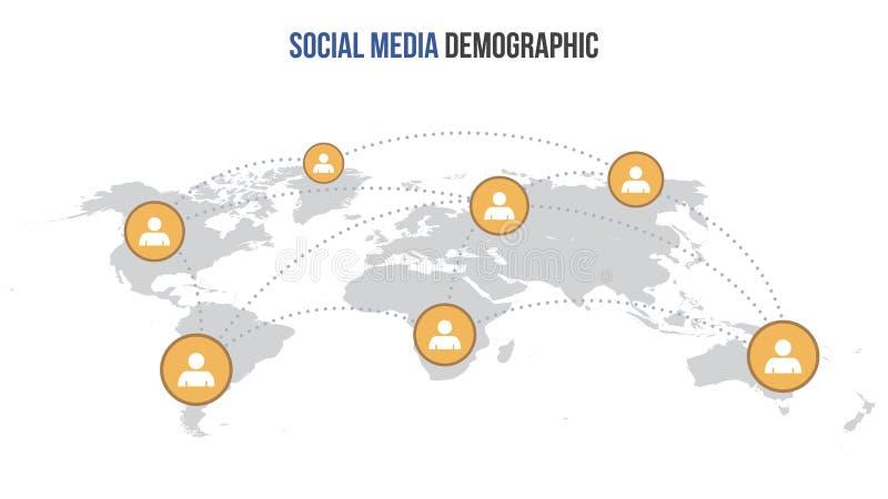 Mapa infographic social del vector medios ilustración del vector