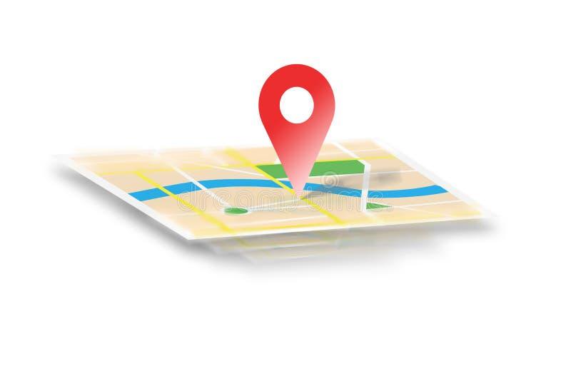 Mapa interactivo aislado en un fondo - localización de GPS concentrada stock de ilustración