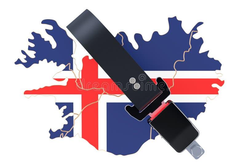 Mapa islandés con el cinturón de seguridad La seguridad y protege o insuranc libre illustration
